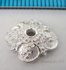 2x BRIGHT STERLING SILVER SQUARE FLOWER BEAD CAP SPACER 9.8mm #1781