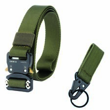 """1"""" Tactical Skinny Nylon Belt Fast Release Buckle Trousers Belts Army Green 49""""L"""