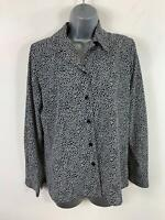 WOMENS VIYELLA BLACK/WHITE SPOT LONG SLEEVE SMART/CASUAL SHIRT/BLOUSE TOP SIZE 8