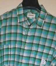 "DIESEL ""Sjoshi"" Green/Blue/Black Plaid Long Sleeve Linen/Cotton Shirt Sz XL"