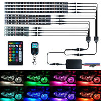 12pcs RGB LED Lights Strip Waterproof Flexible Motorcycle Car Light Kit Remote