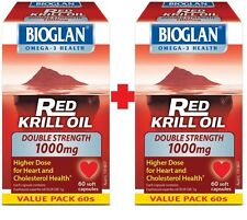 2X Bioglan Red Krill Oil Double Strength 1000mg 60 Capsules *Compare and save*