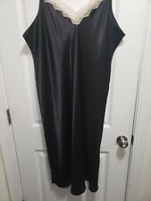 3x Shadowline Black Satin Nightgown Nwot Lace!