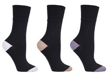 3 pairs Ladies SockShop Cotton Gentle Grip 4-8 uk Socks - Contrast Heel & Toe