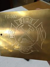 Fire Department Master Template Brass Engraving Plate For New Hermes Font Tray