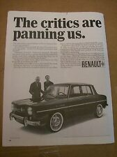 Original 1966 Renault 8 Magazine Ad - The Critics Are Panning US