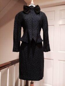 Saks Exclusive Elegant Blue, Black &White Peplum Skirt Suit Size 42/8/6