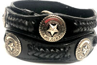 "Texas star Conchos Genuine Leather belt,1 1/2""wide Western men's Belt,US Seller."