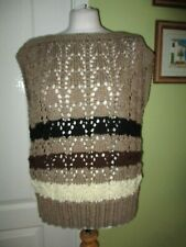 HAND KNITTED CHUNKY KNIT LADIES SLEEVELESS JUMPER FAWN MIX FITS A UK 18-20