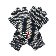 """Houston Texans """"Gloves Off' Space Dye Striped Logo Gloves, One Size - NEW!"""