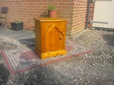 Bedside cabinet: Ornate solid pine hand crafted with Medieval shaped door