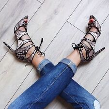 ZARA SNAKE PRINT LEATHER HIGH HEEL LACE UP SHOES SANDALS ANKLE BOOTS 38 UK 5