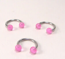 Piercing Ring Horseshoe 1,2mm - Steel/Acrylic Shocking Pink,Pink - inkgrafix -
