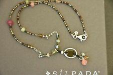 "❤ Silpada sterling NECKLACE charm Pendant N2008 Chalcedony Quartz bead stone 17"""