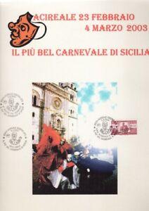 Cartella Francobolli Cartoline Postali Foglio Timbri CARNEVALE ACIREALE 2003