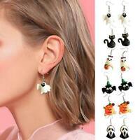 Halloween DIY Resin Earrings Retro Pumpkin Ghost Cat Earrings Fashion J7S4