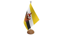 Brunei Small Table Flag with Wooden Stand
