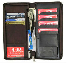 RFID Blocking Leather Travel Wallet Passport Airline Ticket Check Case Black