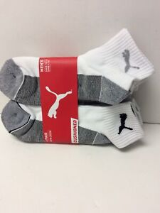 Puma Men Quarter Crew Socks 6 Pack White Sock Size 10-13 Shoe Size 6-12 (S)
