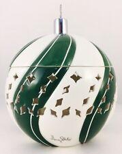 "Slatkin & Co. Bath Body Works Green White Swirl 9"" Ornament Candle Luminary RARE"