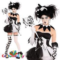 Womens Ladies Halloween Tricksterina Harlequin Clown Jester Fancy Dress Costume