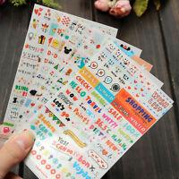 Cute 12 Sheet Word Expression Diary Album Sticker Calendar Card DIY Scrap Gift