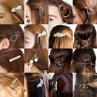 NT Pearl Crystal Rhinestone Flower Barrette Hair Clips Clamp Hairpin 47 Styles