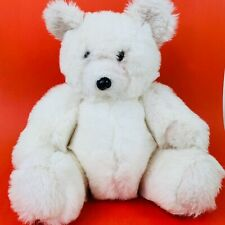 Jointed Bear White Plush 18 inch Tag Missing Stuffed Animal Window Teddy