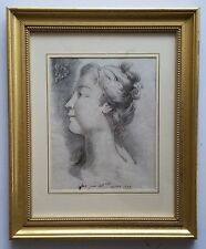 Antique 18th C. Drawing of French Girl on paper with watermarks. Signed.