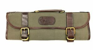Boldric 9 Pocket Green Canvas and Leather Roll Knife Carry Bag