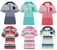 Ladies Polo Shirt Striped Cotton Blend New Button Up Collar Womens Pocket Summer