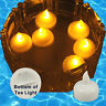 Qty 12 Battery Operated FLOATING Amber LED Tealights Tea Lights Flameless NEW