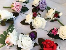 Wedding buttonholes flowers corsage double single red lilac white ivory pink pea