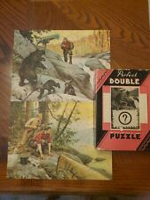 Vintage Jigsaw Puzzle Perfect Double 2 in 1 COMPLETE Hunting Canoes Bears Moose