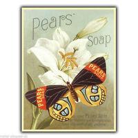 METAL SIGN WALL PLAQUE PEARS SOAP Vintage BATHROOM Decor Advert poster art print