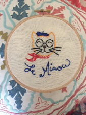 Handmade French Cat w/ Glasses and Beret Embroidered Hoop Wall Art Le Chat Meow