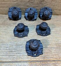 "Cast Iron Vintage Button Drawer Pull Knob 2 1/4""wide Base (Set of Six) 0062"
