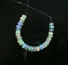 "White ETHIOPIAN welo OPAL smooth rondelle beads AAA 4-5mm 3""strand"