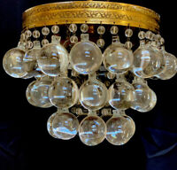 Vintage French Art Deco Brass Crystal Ball Wedding Cake Flush Mount Chandelier