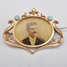 Yellow Gold, Opal, with an Old Art Nouveau Photo Brooch, 14 Carat /585