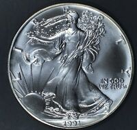 1991 1 oz AMERICAN SILVER EAGLE BRILLIANT UNCIRCULATED ASE  SKU1991B