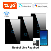 1/2/3 Gang WiFi Smart Wall Touch Light Switch Glass Panel for Alexa/Google App
