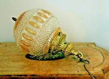 VINTAGE ORNATE BRASS and GLASS BALL SHAPED LIGHT