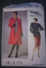 "Vogue American Designer Bill Blass Coat Skirt Top Pattern Power Shoulder B 36"""