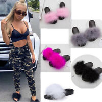 Ladies Ostrich Fur Sandals Casual Sliders Flats Fluffy Fur Rubber Shoes Holiday