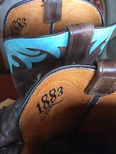 Amazing Lucchese 1883 Brown & Baby Blue Scroll Leather Cowboy Boots Women's 9.5