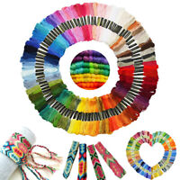100X Skeins Coloured Embroidery Thread Cotton Cross Stitch Braiding Craft Sewing