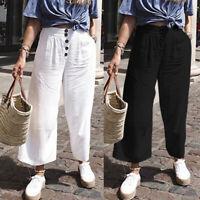 Womens Office Work Ladies Wide Leg Trousers Capris Plus Size Elastic Waist Pants