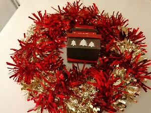 Christmas Xmas Wreath Tinsel wrapped  Front Door Hanging 3 parcel decoration