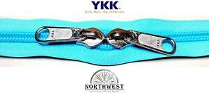 YKK Nylon Coil Zipper Tape # 10 Turquoise 25 yards with 25 Nickle Zipper Sliders